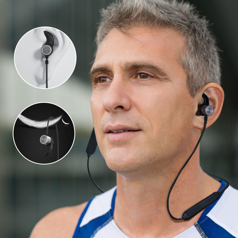 Versión Mejorada Auriculares Bluetooth Impermeable IPX7 Max Mantiene 14 Horas, Magnético Auriculares Deportivos Inalámbricos con Mic tecnología APTX y ruido de cancelación CVC 6.0