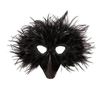 Amakando Careta de Cuervo con Plumas Máscara de pájaro Negro Mascarilla con Pico de Animal Caracterización
