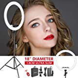 Neewer Ring Light Kit [Upgraded Version-1.8cm Ultra Slim] - 18 inches, 3200-5600K, Dimmable LED Ring Light with Light…