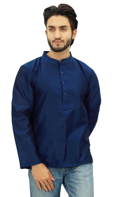 Atasi Ethnic Men's Short Kurta Mandarin Collar Dupion Shirt
