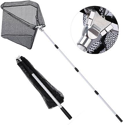 Landing Fishing Handle Folding Pole Mesh Net Fish Telescoping Nylon Strong Tool