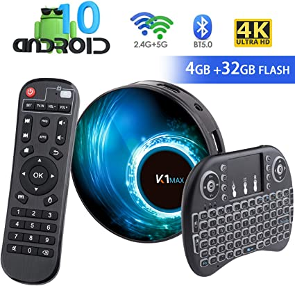Android 10.0 TV Box 【4G + 32G】 con Mini Teclado teléfonos inalámbricos RK3318 Quad-Core 64bit Android TV Box, Wi-Fi-Dual 5G / 2.4G, BT 4.0, 4K * 2K UHD H.265, USB 3.0 Smart