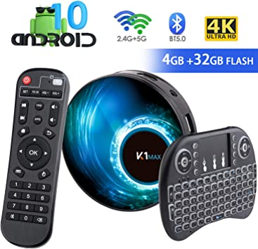 Android 10.0 TV Box 【4G + 32G】 con Mini Teclado teléfonos inalámbricos RK3318 Quad-Core 64bit