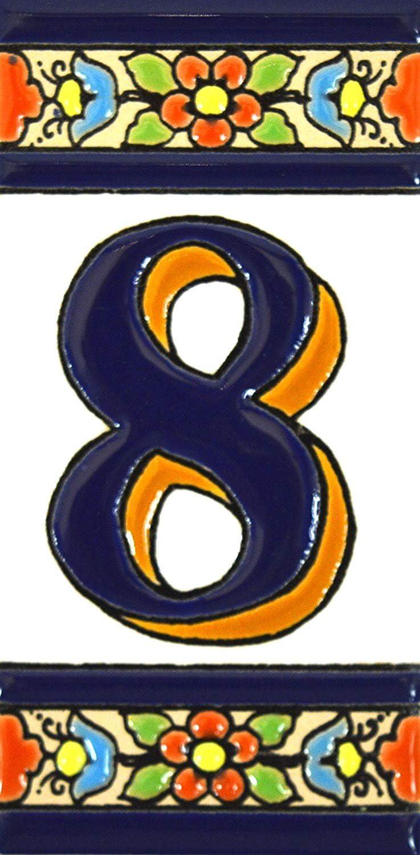 Texto personalizable Letreros con numeros y letras en azulejo de ceramica policromada Dise/ño FLORES MEDIANO 10,9 c direcciones y se/ñal/éctica N/úmeros casa pintados a mano en t/écnica cuerda seca para placas con nombres
