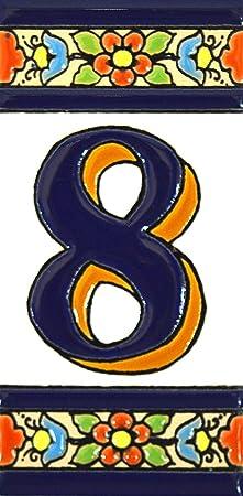 """Image ofNúmeros casa. Letreros con numeros y letras en azulejo de ceramica policromada, pintados a mano en técnica cuerda seca para placas con nombres, direcciones y señaléctica. Texto personalizable. Diseño FLORES MEDIANO 10,9 cm x 5,4 cm. (NUMERO OCHO """"8"""")"""