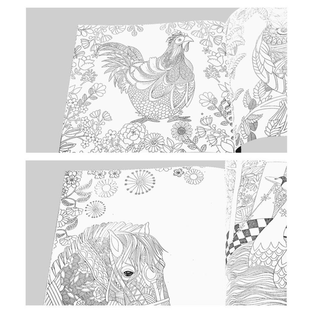 Fun Adult Coloring Book Designs Stress Relief Coloring Book Lost Ocean/Secret Garden (The enchanted forest) by Xiaosan (Image #2)