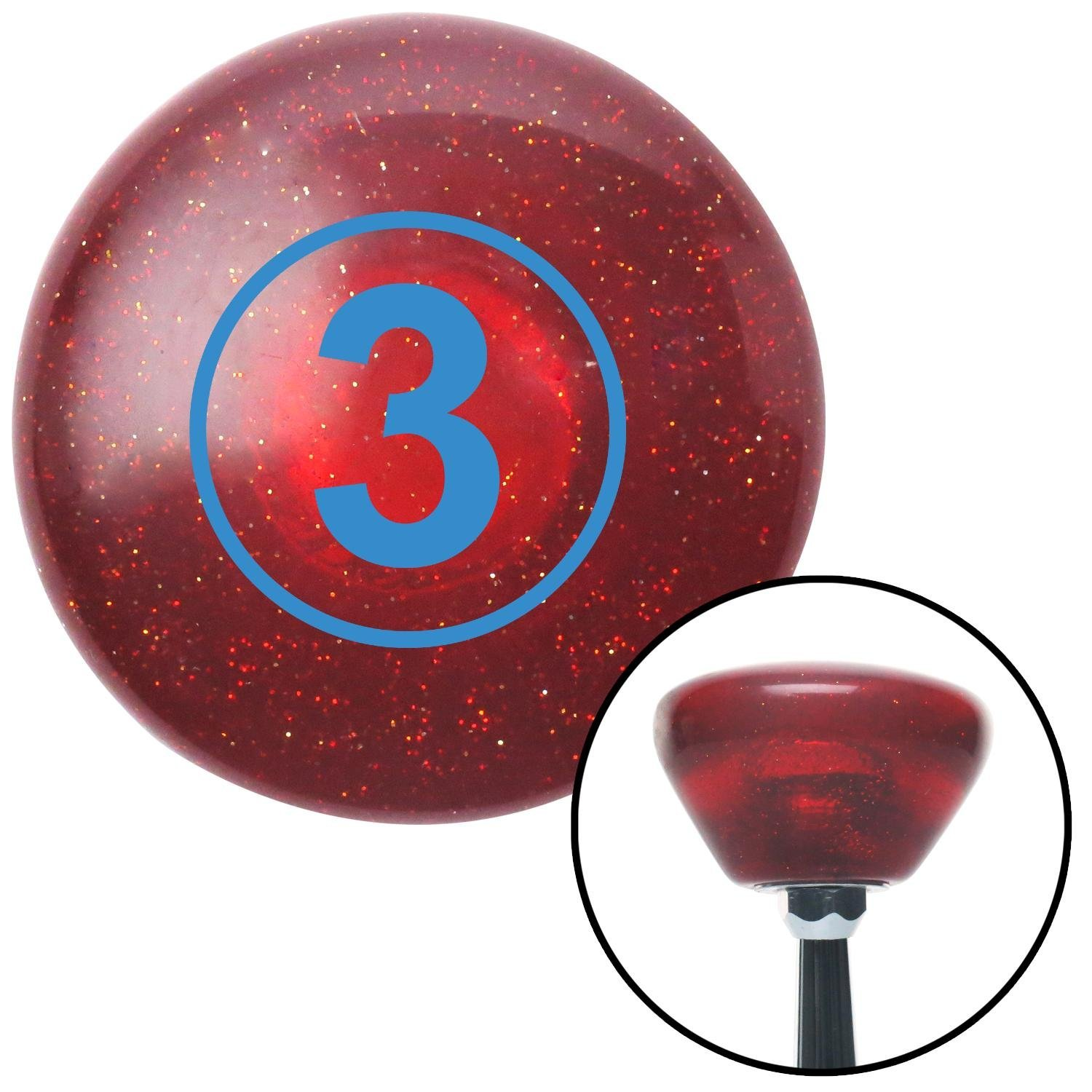American Shifter 193529 Red Retro Metal Flake Shift Knob with M16 x 1.5 Insert Blue Ball #3
