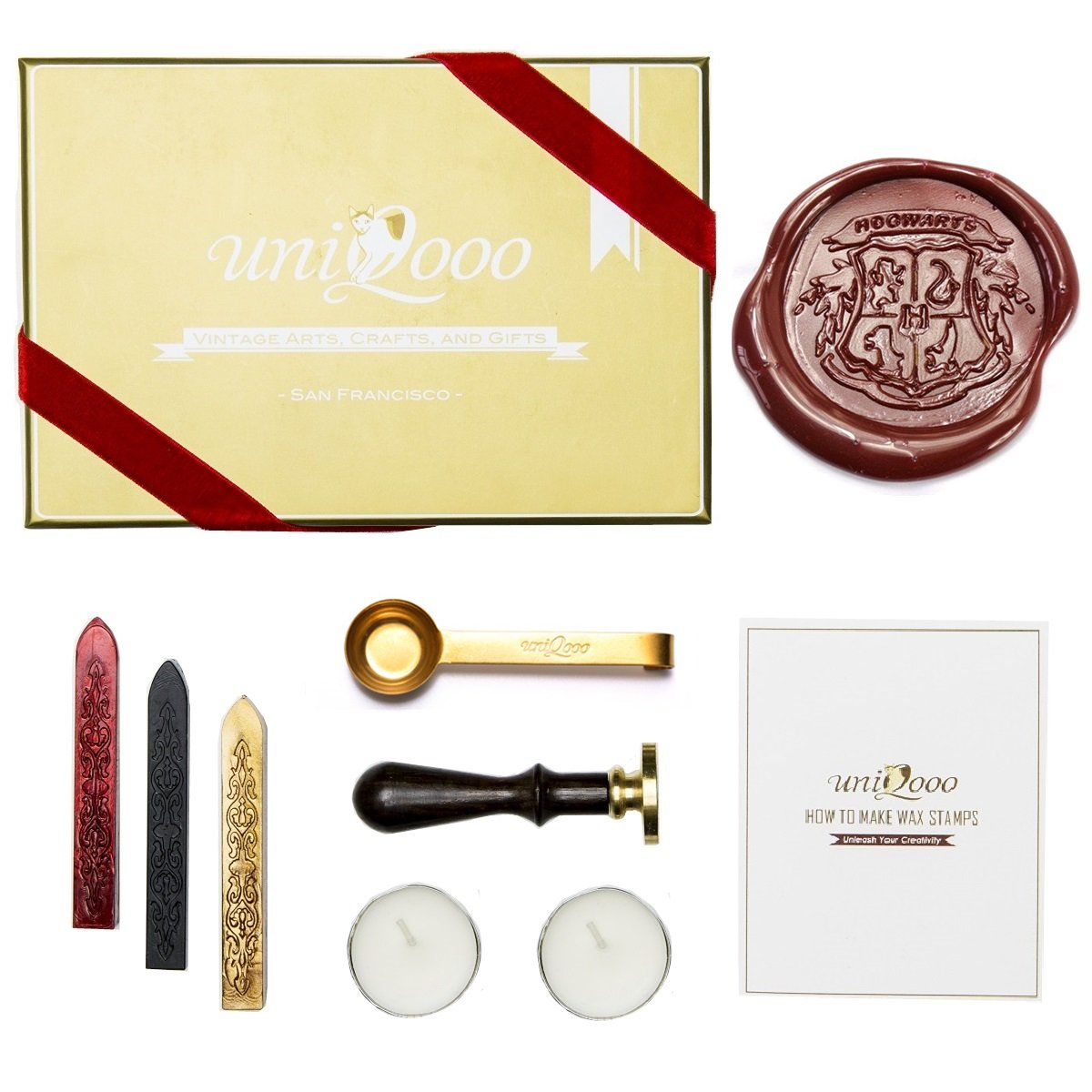 UNIQOOO Arts & Crafts Vintage Adhesive Sealing Wax Stamp Kit- Hogwarts Ministry of Magic Badge and 4 House Badges- Gold, Red, and Black Wax Sticks with Wicks- Great Gift for a Friend of Relative JIUFAN 4336845757
