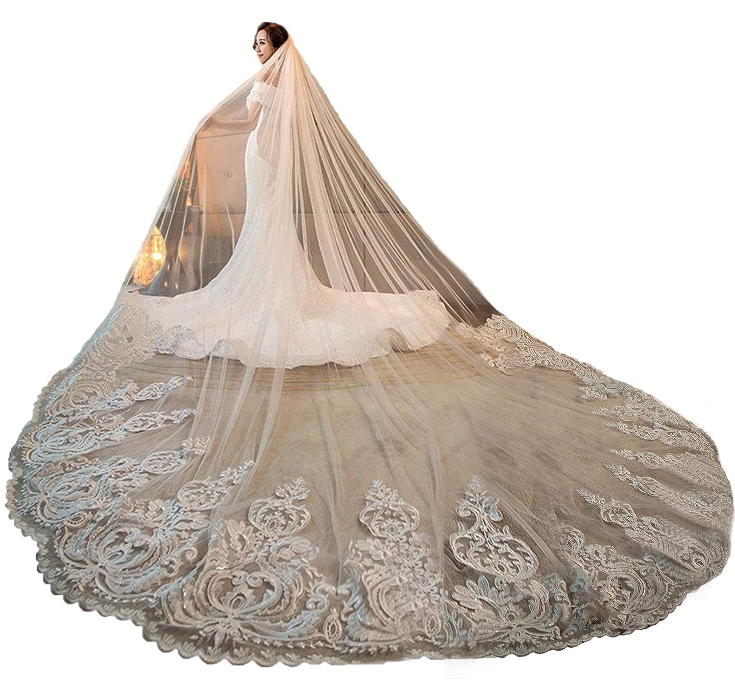 Fenghuavip Women's 3M 4M 5M 1T Lace Cathedral Wedding Veils for Brides with Free Comb