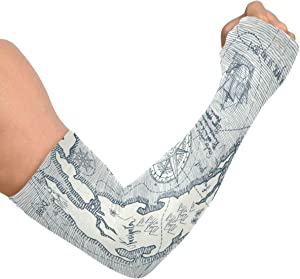 Compression Arm Sleeves for Men Women Travel Adventure Discovery Compass Uv Sun Protection Arm Support Shield for Basketball Baseball Football Shooting Sleeve