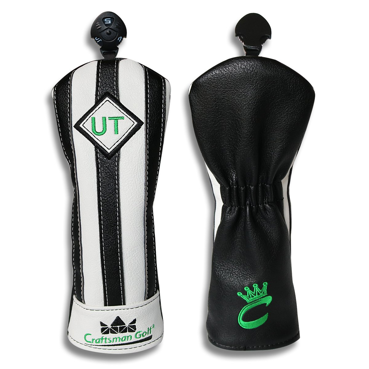 Craftsman Golf Black with White Stripes Series Golf Club Driver Wood UT Hybrid Head Cover Headcover (UT Hybird Cover)