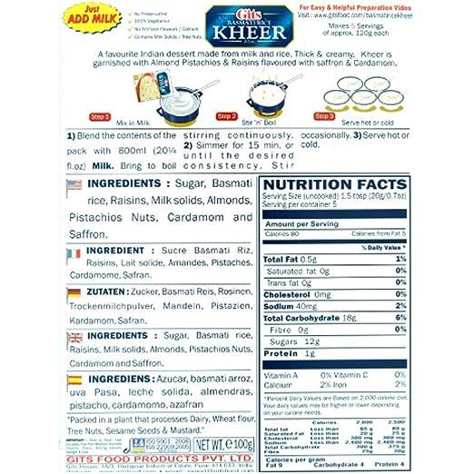 5x Gits Basmati Rice Kheer Mix 100g mezcla preparada postre de arroz con leche: Amazon.es: Alimentación y bebidas