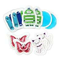 Kids Ice Pack(10-Pack) for Boo Boos Injuries by WORLD-BIO, Reusable Children's Fun...