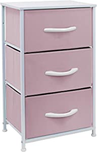 Sorbus Nightstand with 3 Drawers - Bedside Furniture & Accent End Table Chest for Home, Bedroom Accessories, Office, College Dorm, Steel Frame, Wood Top, Easy Pull Fabric Bins (Pastel Pink)