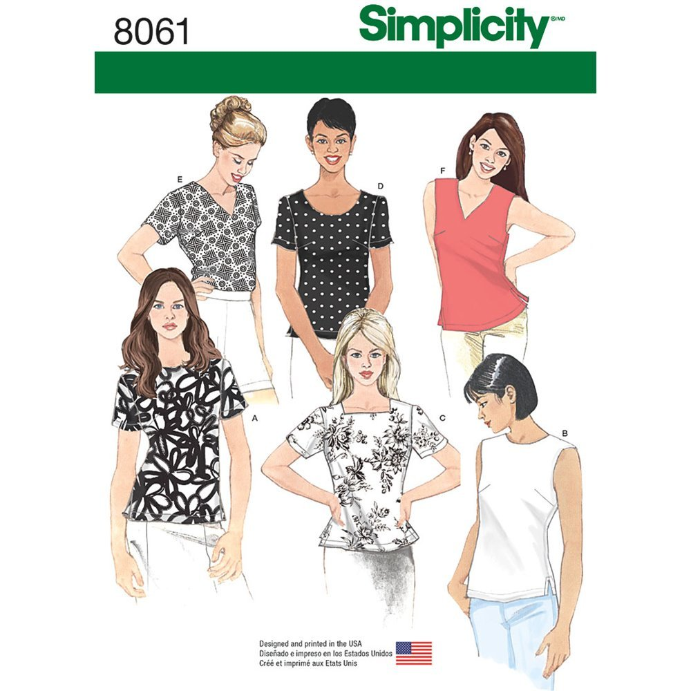 Simplicity Sewing Pattern 8061K5 Misses\' Tops, Paper, White, K5 (8 ...