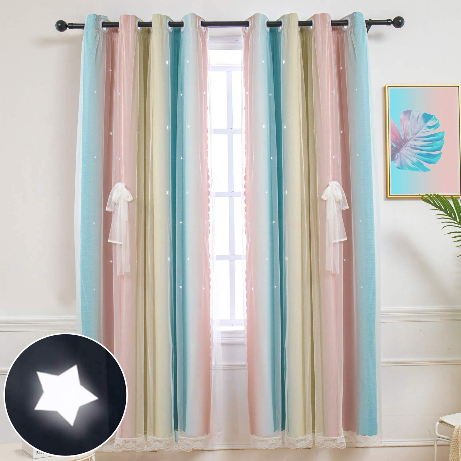 Hughapy Star Curtains for kids Girls Bedroom Room Darkening Cute Window Decorative Blackout Curtain Colorful Double Layer Star Cut Out Curtains for Kitchen Small Cafe 2 Panels Pink//Grey, 35W x 45L