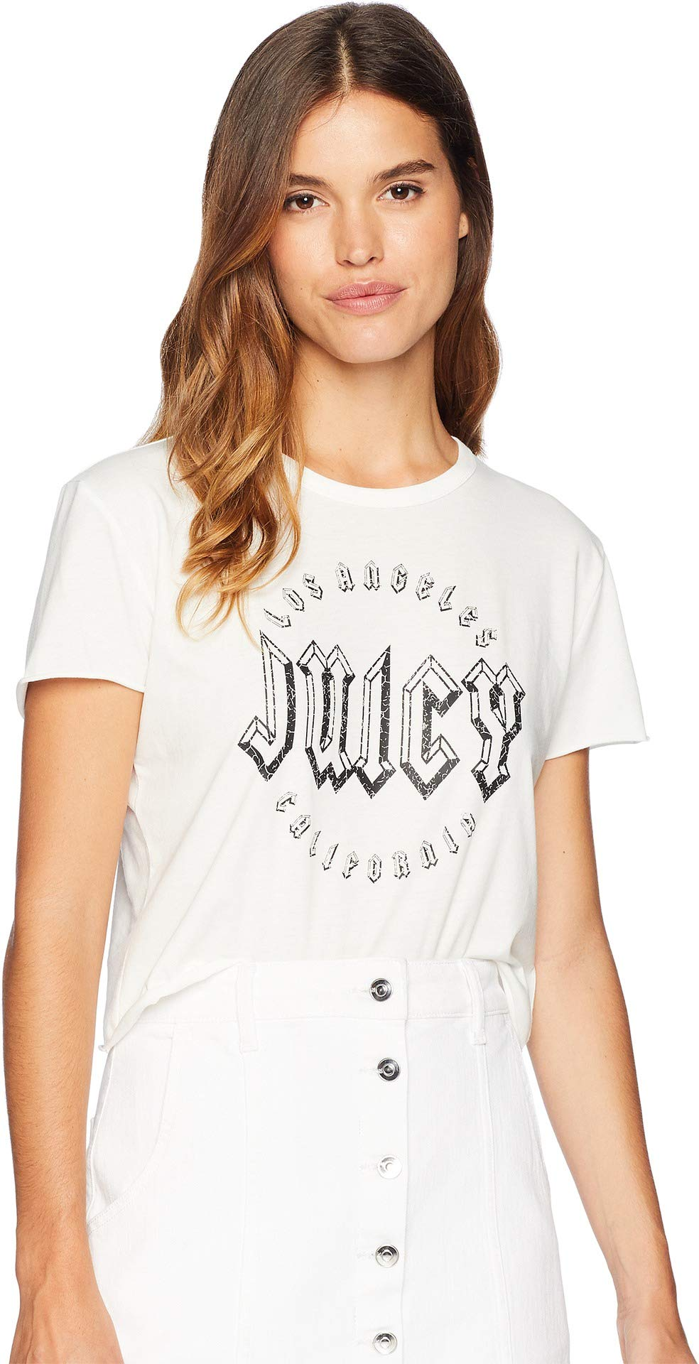 Juicy Couture Women's Knit JXJC Embellished Logo Graphic Tee Bleached Bone Medium by Juicy Couture (Image #1)