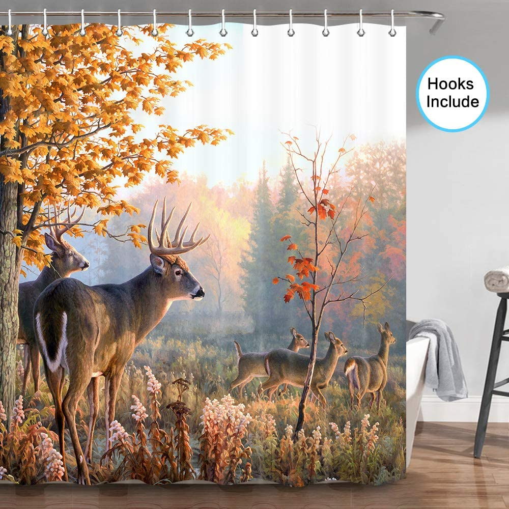 JAWO Whitetail Deer Shower Curtain, Nature Wildlife Animal Deers Hunting Rustic Farmhouse Bathroom Shower Curtain Sets, Fabric Shower Curtain Hooks Include, 70 in