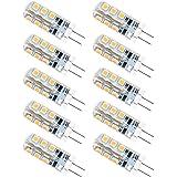 Anpro 10 Pcs 2 Watt DC 12V G4 24 LED Bulb 2835 SMD LED Lamp (Warm White)