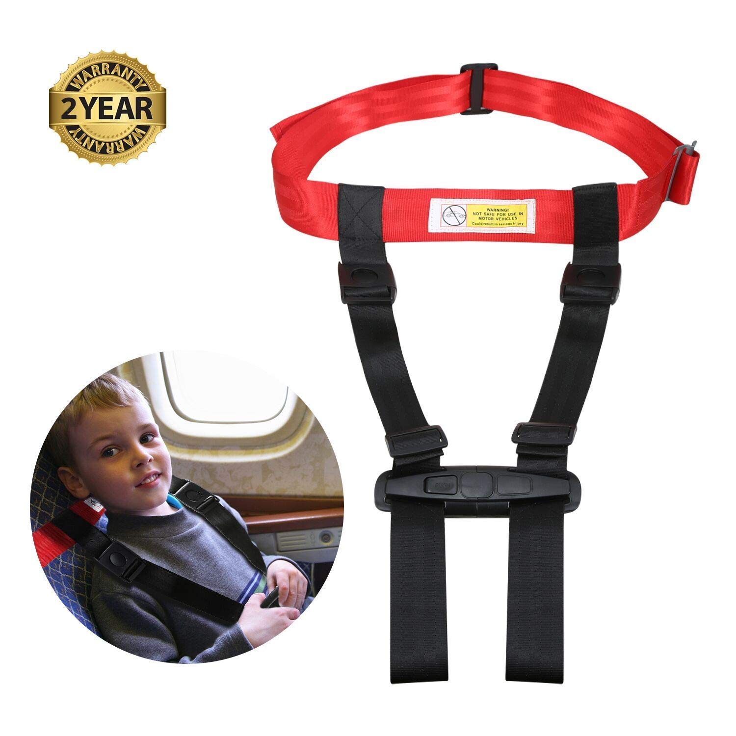 Child Airplane Travel Safety Harness Approved by FAA, Clip Strap Restraint System with Safe Airplane Cares Restraining Fly Travel Plane for Toddler Kids Child Infant by Mestron (Image #1)
