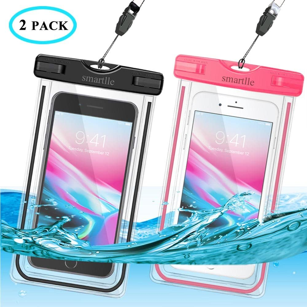 """Waterproof Phone Pouch, 2 Pack IPX8 Cellphone Dry Bag for apple iPhone XS MAX,XR, X/XS, 8, 7, 6 Plus, SE,Samsung S10+ S9, Note 9/8, Moto,LG, Up To 6.5"""", Snowproof Dirtproof Outdoor Sports, Fluorescent"""