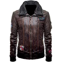Aus Eshop Mens Justice League JL Logo Unite The League Fur Collar Bomber Brown Leather Jacket