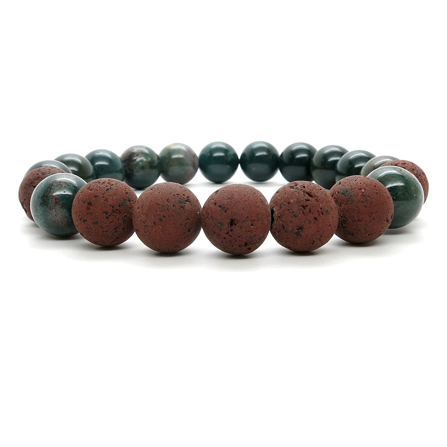 I Dig Crystals Bloodstone Bracelet 9mm Boutique Stretch Genuine Green Gemstone Red Lava Essential Oil Healing B03