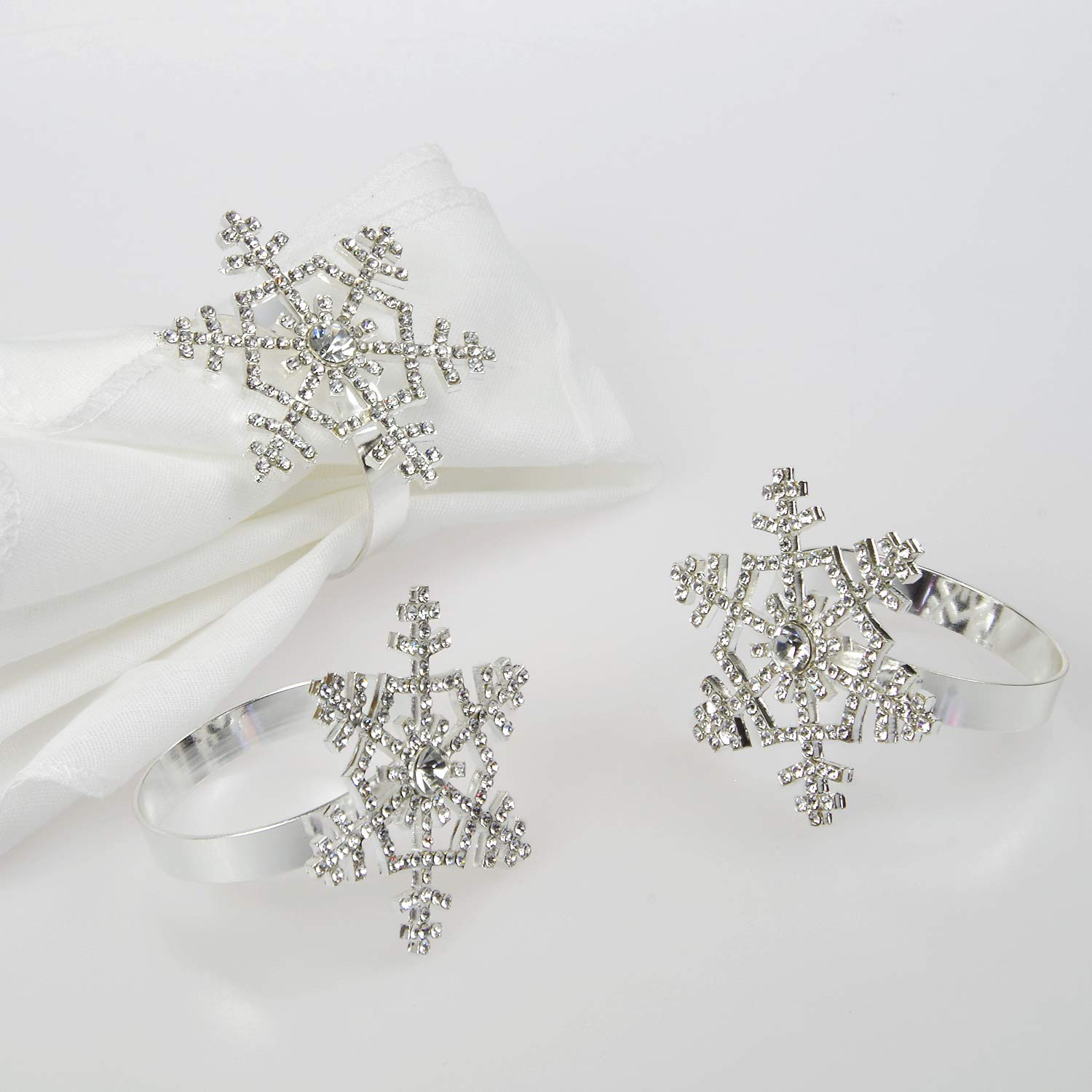 Poitemsic Silver Snowflake Napkin Rings with Diamond for Christmas Thanksgiving Table Decoration(Set of 6)