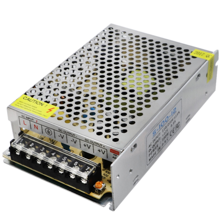 Ruanyi Mini Transformateur Universel Régulé Alimentation Transformateur Transformateur Électronique Sortie DC 12V 8.5A 100W Entrée AC 110V / 220V (1PCS) Luminaire