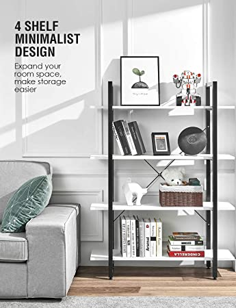 5//6Tier Bookcase Tall Storage Display Shelves with Steel Frame Home Office Decor