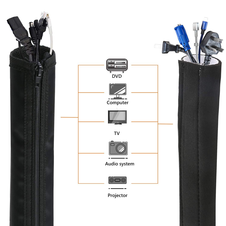 Manicotto di gestione dei cavi con Cerniera 1x150cm Gifort Guaina per Cavi Per Computer//TV//Audio Manicotti Protezione Flessibile Organizzatore Cavi in protezione per cavo in neoprene 2x50cm