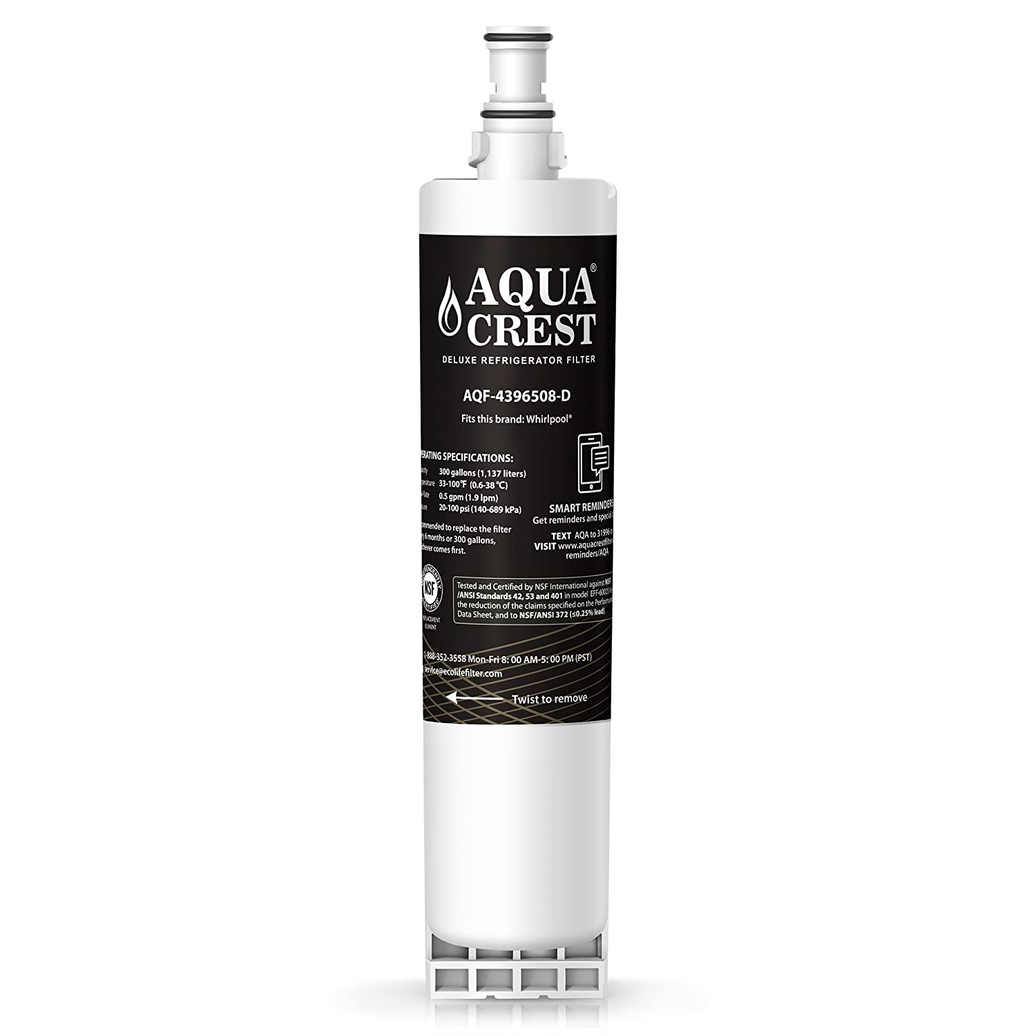 AQUACREST Replacement 4396508 NSF 401,53&42 Refrigerator Water Filter, Compatible with 4396508 4396510, Filter 5, 46-9010, PUR W10186668