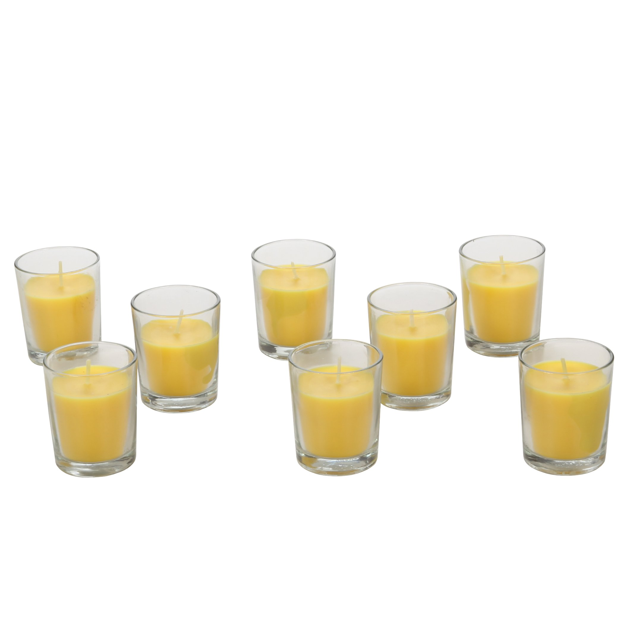 Hosley Highly Scented Set of 8, Citronella, Rosemary, Sage, Lemon Grass blend, Essential Oils, Votive Candles in Clear Glass. Burns upto 12 hours each. Great Gift for Home, Patio, Gardens
