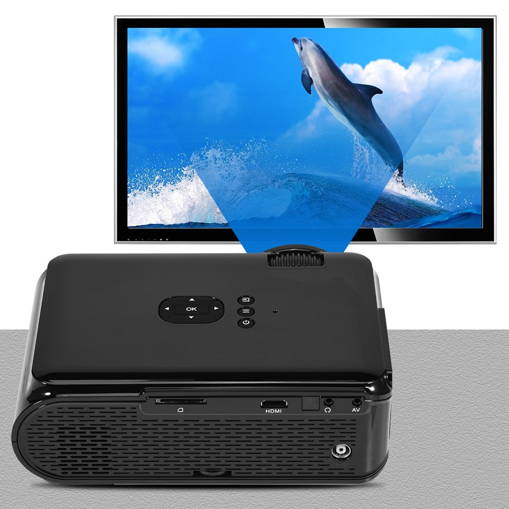 VBESTLIFE ホームシアター LEDプロジェクター  ワイヤレス4.0 台形補正 イメージフリップ機能 1080P 1500ルーメン 20000時間 マルチメディアVGA/USB/SD/HDMI/TV Android 6.0適用(ブラック) B07FXCKBB8 ブラック