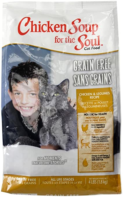 Amazon.com : Chicken Soup For The Soul 418227 Grain-Free Chicken And Legumes Cat Food, One Size/4 Lb : Pet Supplies