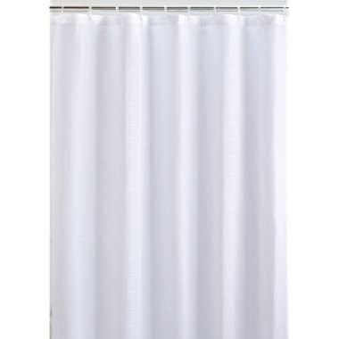 LiBa Mildew Resistant Fabric Shower Curtain Waterproof and Water Repellent and Antimicrobial, 72x72 (White)