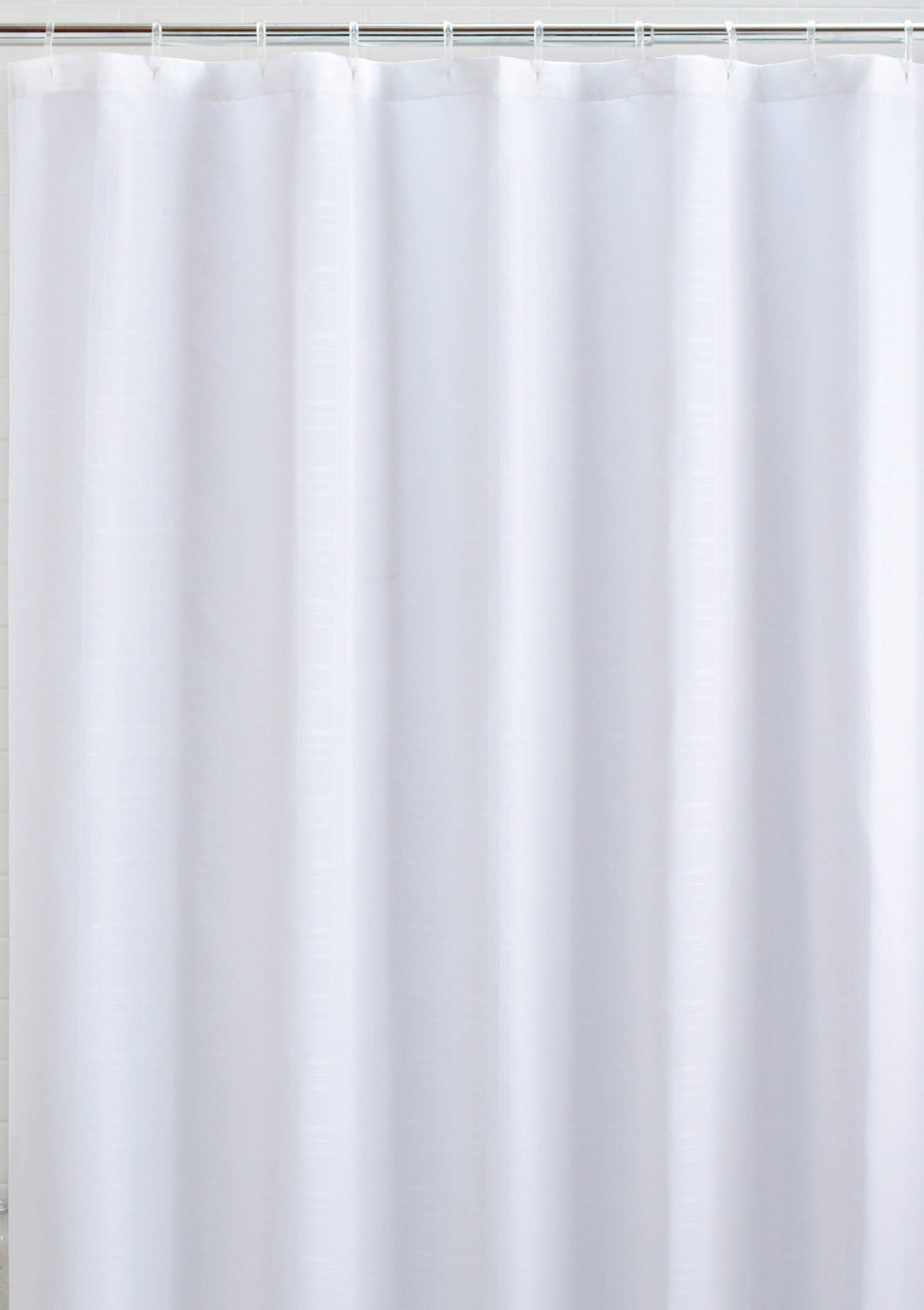 Mildew Resistant Fabric Shower Curtain Waterproof/Water-Repellent & Antibacterial, 72x72 - White by LiBa