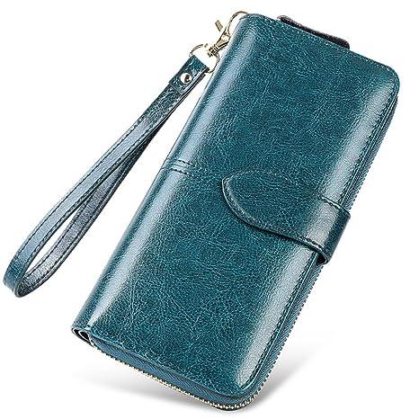 Cartera para mujer, bolso, monedero Cartera con cierre (Color : Blue, Tamaño