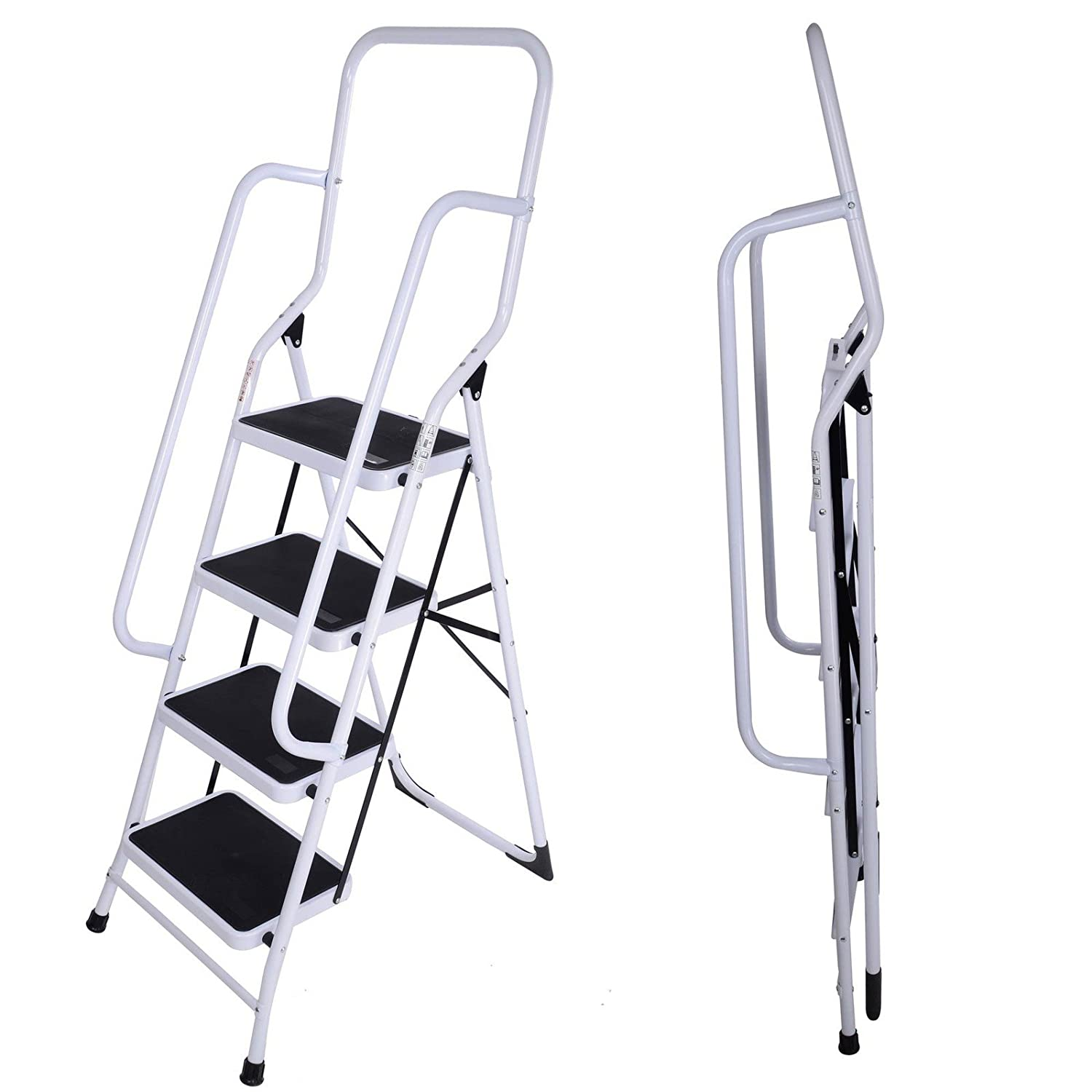 FoxHunter Foldable 4 Step Steel Non Slip Ladder tread Stepladder ...