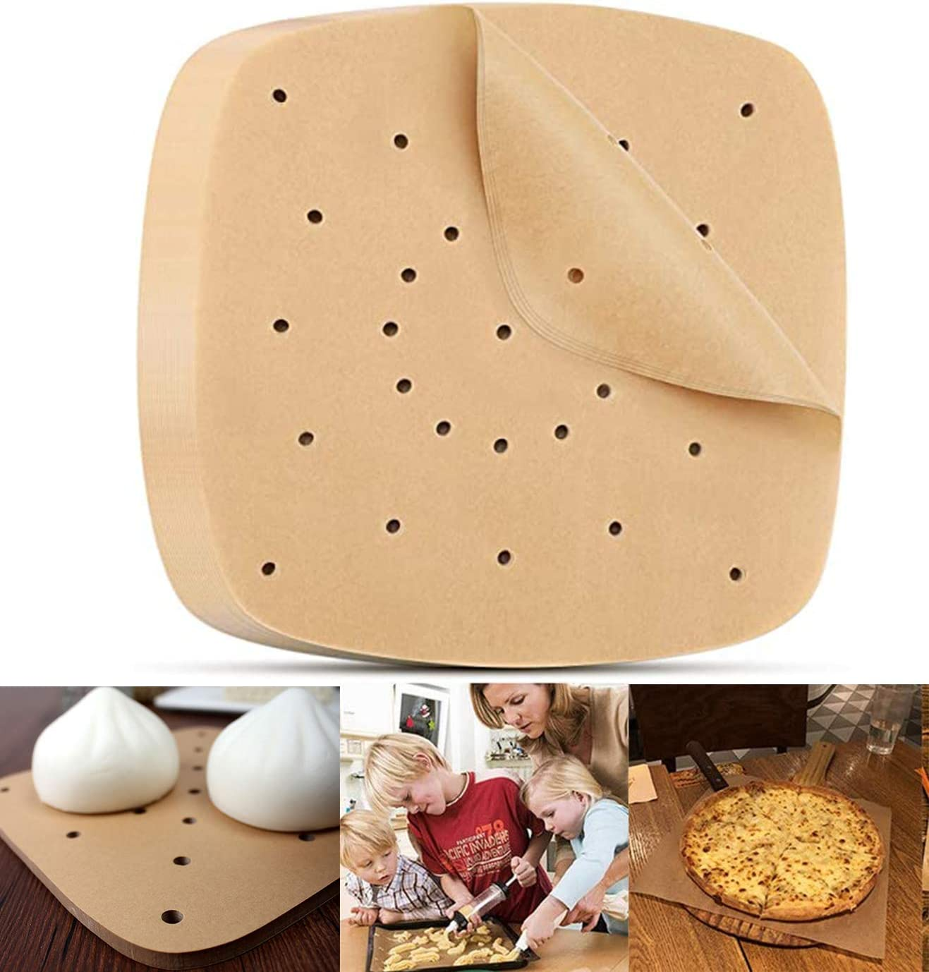 200 Pcs Air Fryer Parchment Paper, 7.5 Inch Perforated Parchment Paper for Air Fryer Unbleached Parchment Paper Baking Paper for Air Fryer Steaming Basket