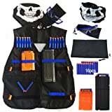 GFU Tactical Vest Kit for Nerf Guns N-Strike Elite Series with 16pcs Blue Darts + Protective Goggles Glasses + 5-darts 11-Darts Quick Reload Clip + Face Tube Mask + Small Pendant