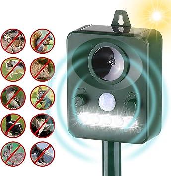 Kecheer Ahuyentador de gatos ultrasonidos solar con LED,Repelente de animales ultrasónico,Repelente de gatos y perros exterior para jardin,con sensor de movimiento de sonido: Amazon.es: Bricolaje y herramientas