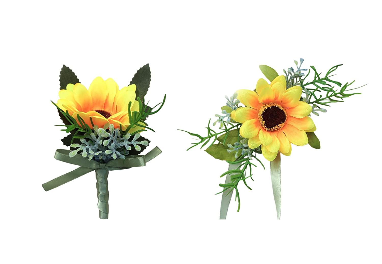 Bride Groomブライズメイド結婚式花ブートニアコサージュセットシミュレーションひまわり 1 B07B8TKXRM スタイル1