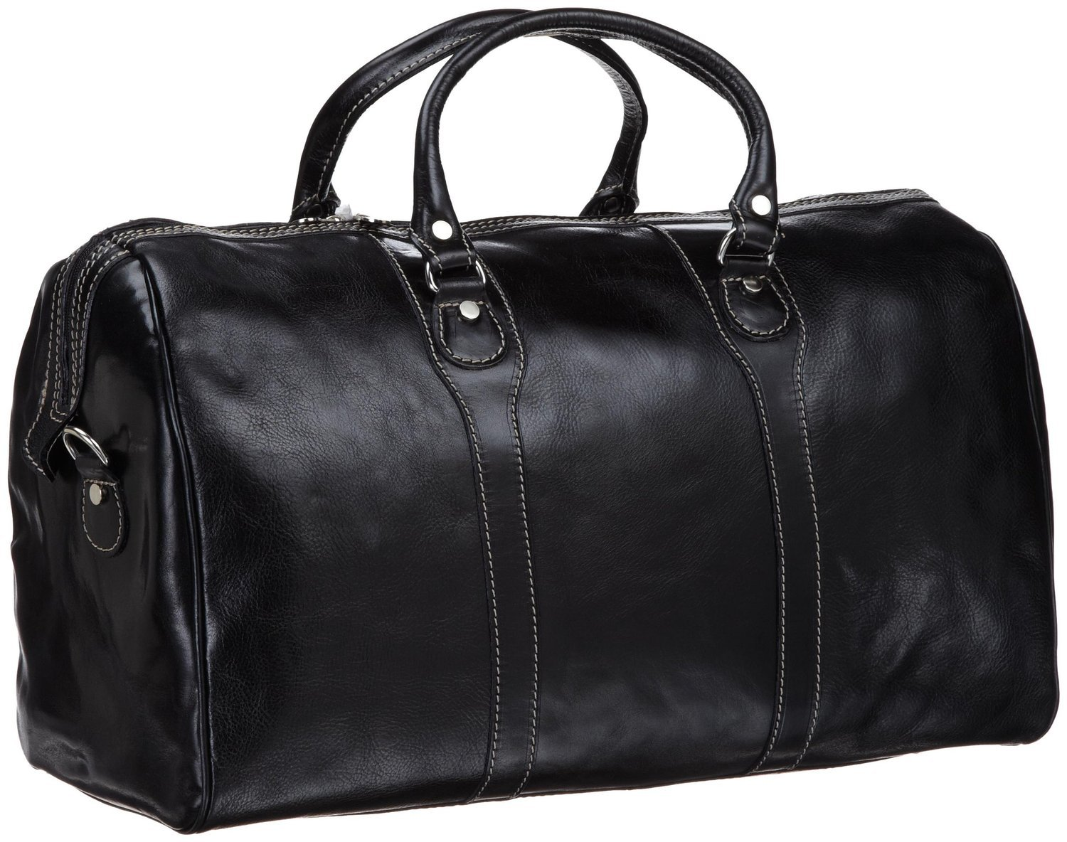 Floto Milano Duffle Bag, Leather Carry on in Black