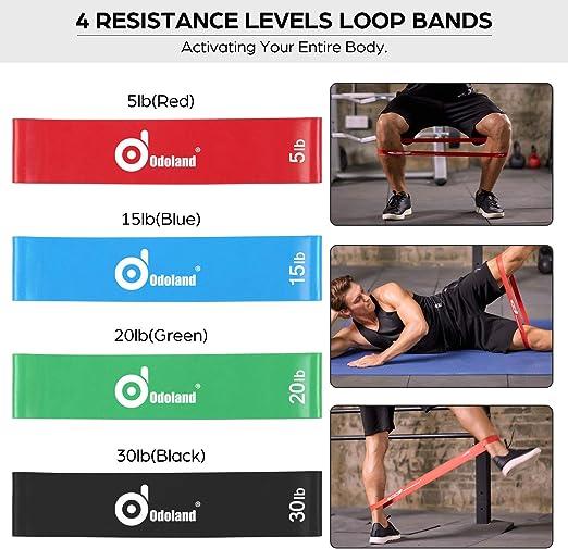 Odoland Juego de Bandas Elasticas de Fitness Incl. 5 x Bandas Elásticas de Resistencia,4 x Loop Band, 2 x Asas, 2 x Correas de Tobillo, 1 x Anclaje ...