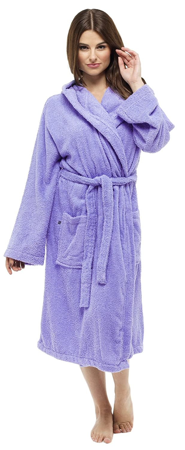 Lora Dora Womens Pure 100% Cotton Luxury Terry Towelling Bath Robes Dressing Gowns Housecoat + Belts Pockets Nightwear Loungewear Ladies Girls Size UK 6-16 Shoe Directory