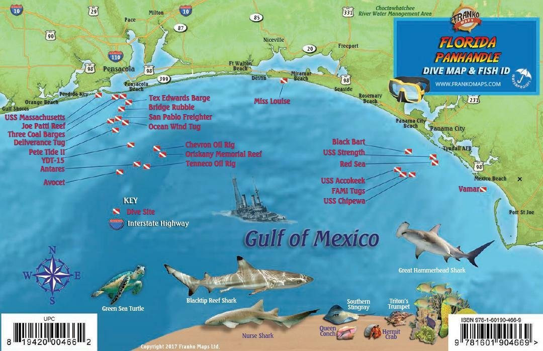 Florida Reefs And Wrecks Map Florida Panhandle Dive & Wreck Map & Reef Creatures Guide Franko