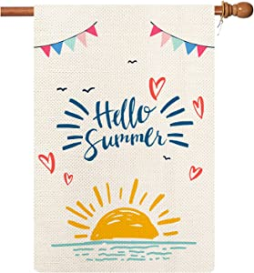 Hello Summer Garden Flag,Hello Sunshine Garden Flag Vertical Double Sieded ,Spring Summer Holiday Yard Outdoor Decoration 28'' x 40''
