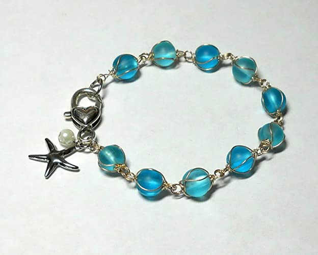 Amazon.com: Sea glass beaded bracelet with wire wrapped beads ...