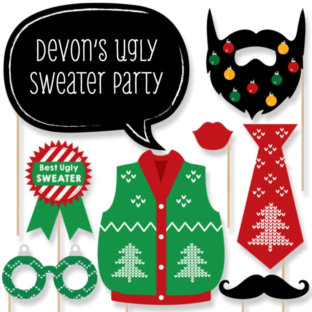 Amazon com big dot of happiness custom ugly sweater photo booth props kit personalized christmas party supplies 20 selfie props toys games